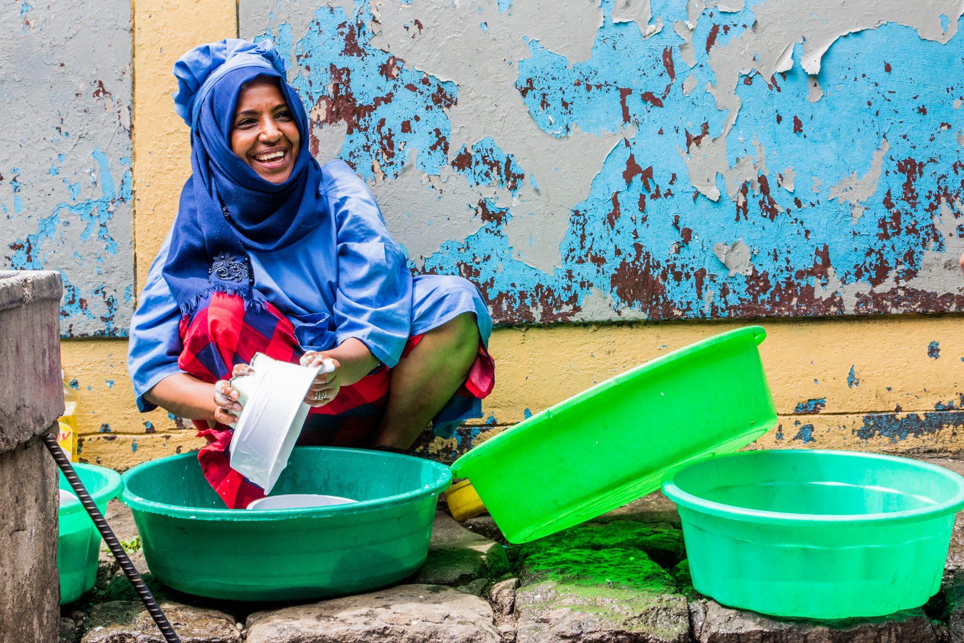Women working at Abebech Gobena Yehetsanat Kebekabena Limat Mahiber (AGOHELMA).